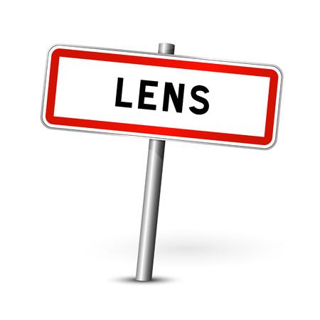 signage: Lens France - city road sign - signage board Illustration