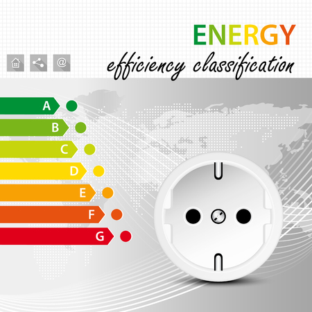 energy classification: Energy efficiency classification concept - electric power consumption brochure template - electricity infographic