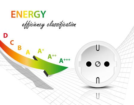 eficiencia: concepto de consumo de energía eléctrica con el gráfico de la eficiencia energética y el zócalo - infografía de energía eléctrica con la flecha Vectores