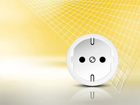 power grid: Yellow electric energy background with socket and abstract grid - power and electricity concept Illustration