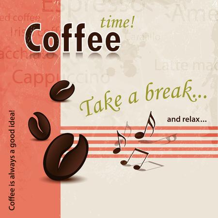 slogan: Café de fondo abstracto con lema Coffee Break