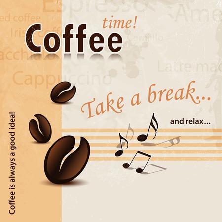 chicchi di caff?: Caffè parole Pausa sfondo d'epoca