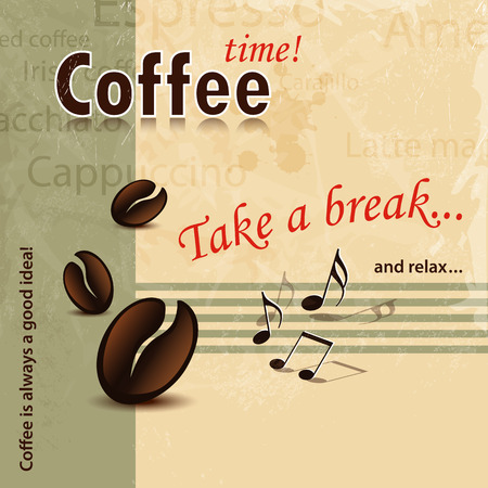 take a break: Take a break coffee background retro - abstract coffee cover concept Illustration