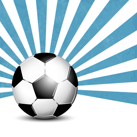 footie: Soccer ball against blue starburst background Illustration