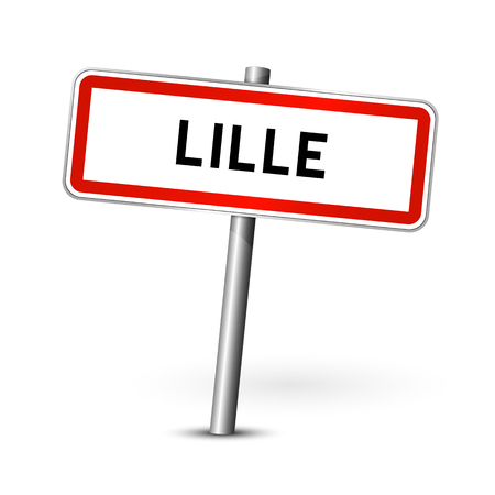 lille: Lille France - city road sign - signage board