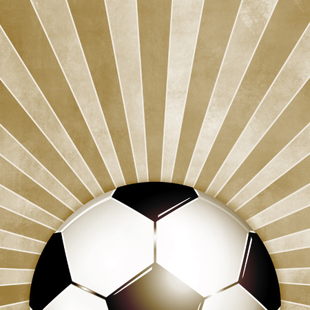 footie: Football background retro brown with rays - vintage soccer flyer Stock Photo