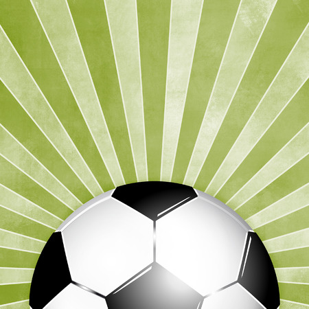 footy: Soccer ball with green rays background