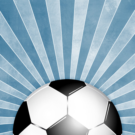 sports league: Blue soccer ball background with rays
