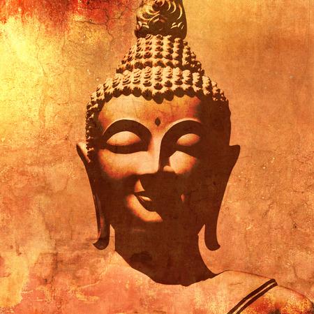 cabeza de buda: silueta de la cabeza de Buda en la pintura de estilo grunge Foto de archivo