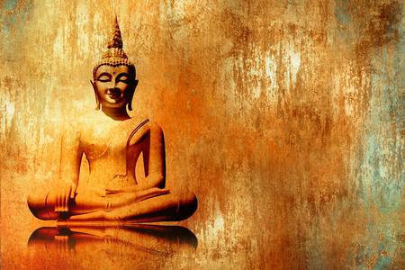 Buddha image in lotus position in grunge orange gold painting style - meditation background