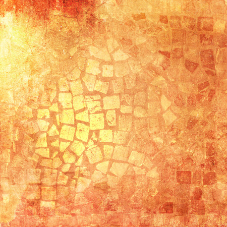 tessellation structure: Mosaic tile background pattern orange in vintage style