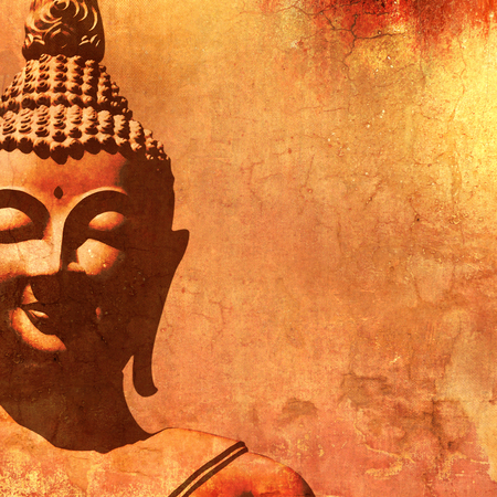 budha: Buddha face silhouette in vintage painting style Stock Photo