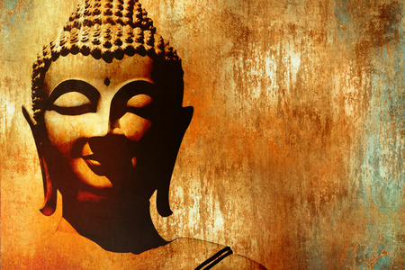 Buddha image background with face silhouette in grunge painting style