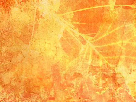 orange texture: Grunge background texture in yellow orange fall colors with abstract leaves