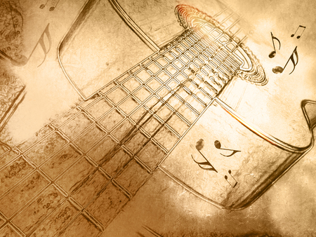 Retro music background with guitar in vintage drawing style Stock Photo