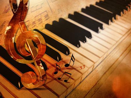 Piano touches vintage - fond de musique classique Banque d'images - 82990981