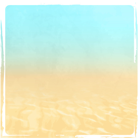 Beach background - summer concept with abstract blue sky, sand and water texture in retro style