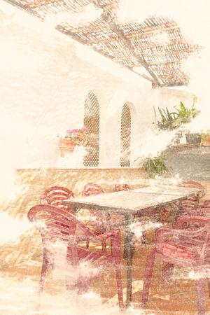 Romantic background scene in watercolor style - Spanish village - dreamy landscape
