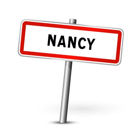 Nancy Frankrijk - stadsverkeersbord - bewegwijzering bord Vector Illustratie