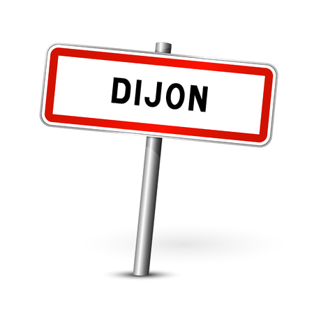 Dijon France - city road sign - signage board  イラスト・ベクター素材