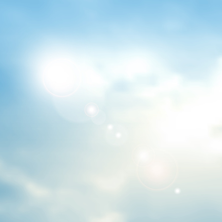 Blue summer sky background with lens flares - abstract summer concept