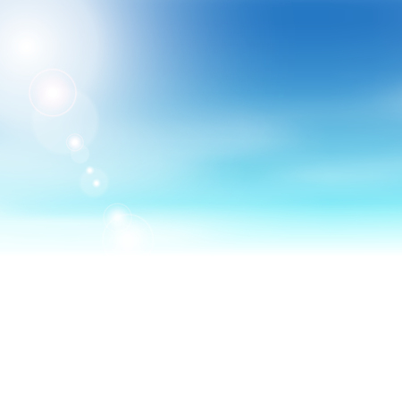 Blue sky background fading to white - abstract summer theme with bright sun