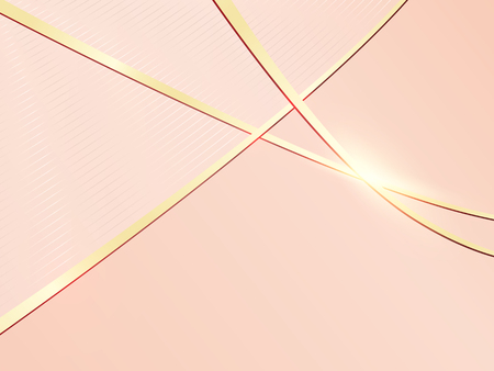 Soft pink background template with gold metal lines and shiny light