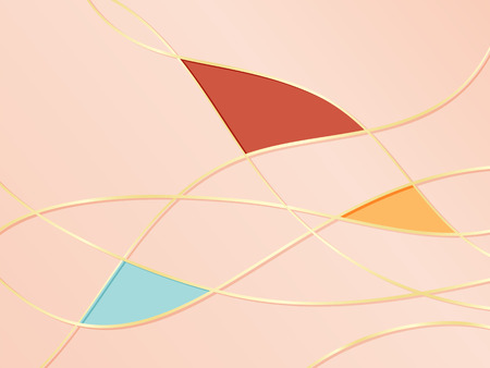 Coral pink background pattern with gold curved metal lines
