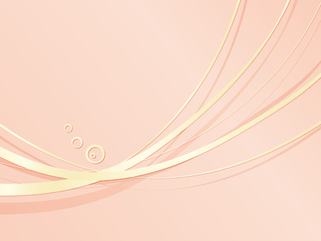 Coral pink background with gold wavy metal lines - abstract elegant wedding template