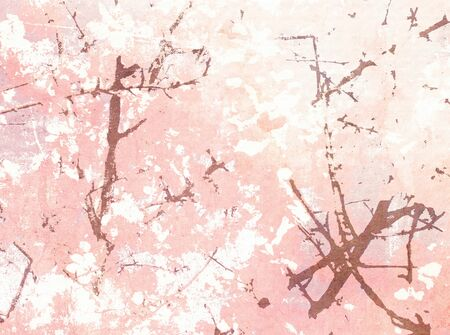 Floral pink watercolor background with abstract cherry blossoms in pastel vintage style