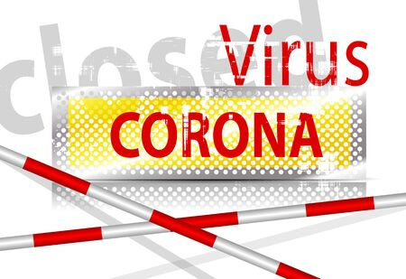 Coronavirus sign with barrier