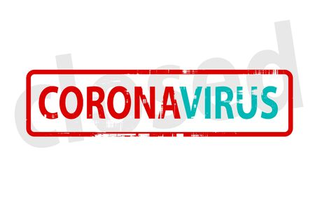 Corona Virus red stamp text isolated against white background Çizim