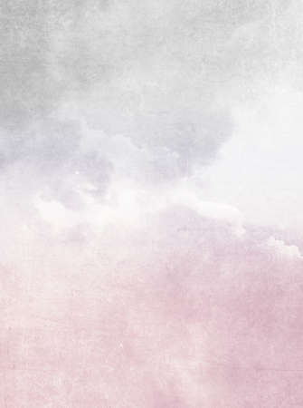 Watercolor background - abstract vintage sky with pastel pink white grey gradient