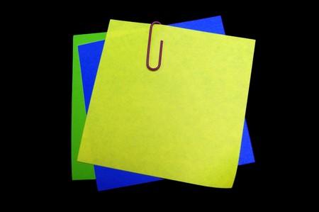 Three notes with purple paper clip Archivio Fotografico