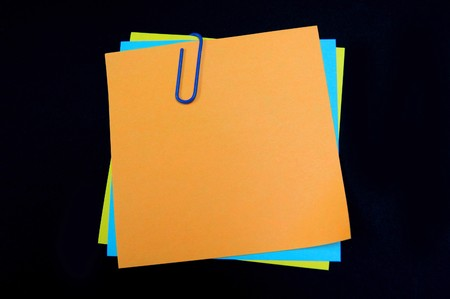 Three notes with blue paper clip Stock Photo - 4551619