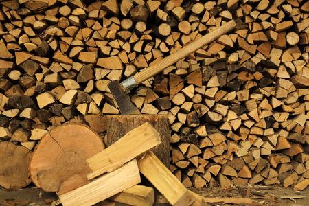 ax: wood ax Stock Photo