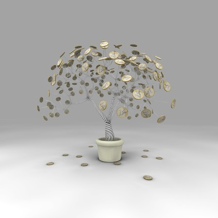 pot of money: A tree that loses its coin leaves in autumn