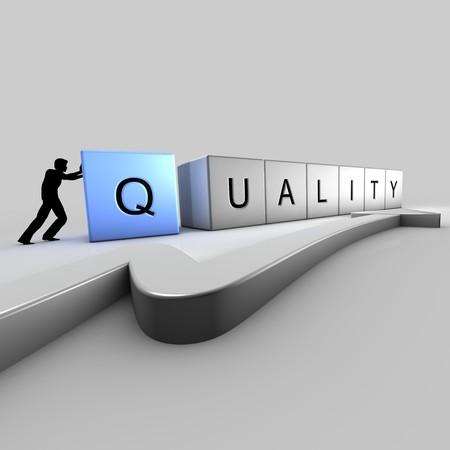 A man puts up bricks of quality