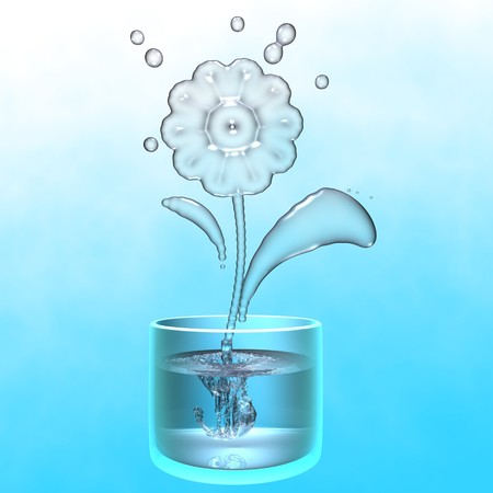A flower made of water whose roots are in a glass of water Stock Photo - 7342581