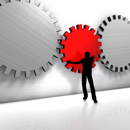 implementation: A man improves a process or repairs a tool.