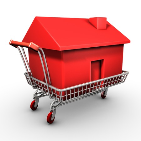 Isolated shopping cart carrying a red plastic house
