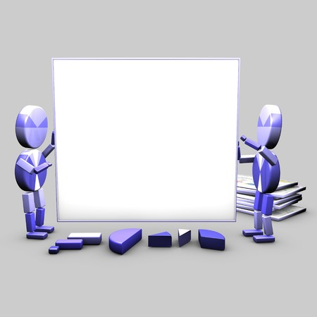 Two characters carry a white board used to display slides