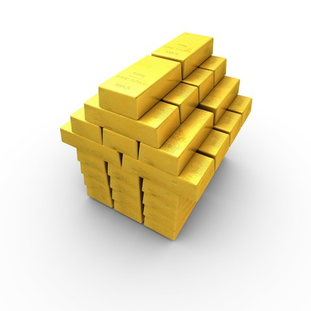 Gold bars stacked to form a house photo