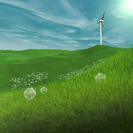 generates: In spring, a wind turbine on a plain, generates electricity Stock Photo