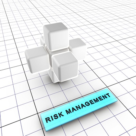 Budget, quality, performance and shedule managements integrate risk management (identification, analysis, tracking, control). Risk management is integral to project management.6 figures depict risk management process and interactions: 1-Integrated risk ma Stock Photo - 7444317