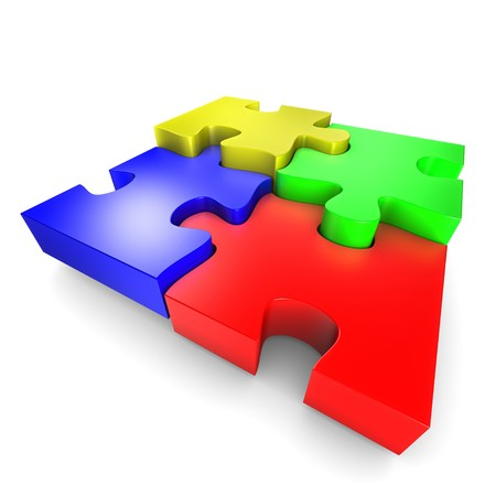 The assembly of colored pieces of puzzle Stock Photo - 7483550