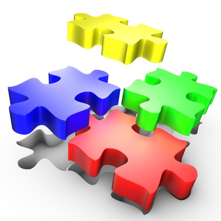 The placement of colored pieces of puzzle Stock Photo - 7483551