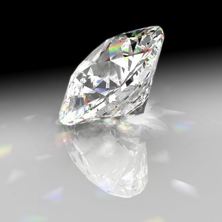 Diamond refracting light with gradient background 写真素材