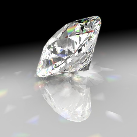 Diamond refracting light with gradient background Stock Photo