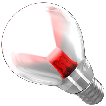 emitting: Light bulb composed by a red LED. The LED is emitting a light beam inside a bulb